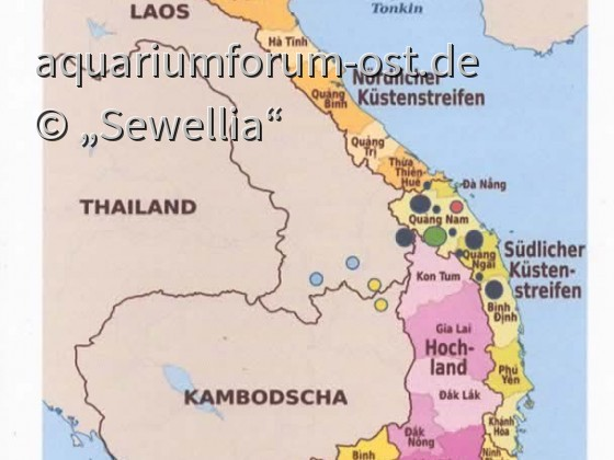 Vietnam Verbreitungsgebiet der Flossensauger Gattung Sewellia