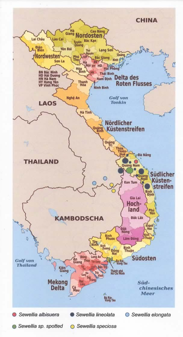 Vietnam Verbreitungsgebiet der Gattung Sewellia